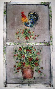 Vintage Windows and Screens - Susan Wymola - Picasa Web Albums Painted Window Screens, Window Pane Art, Old Window Screens, Screen Doors, Window Frames, Jardin Decor, Rooster Decor, Chicken Art, Vintage Windows