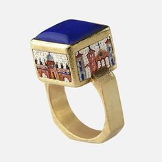 "Ring | Le Sibille. ""Cubo"". 18k yellow gold with a scenic micromosaic is accented with blue lapis lazuli."