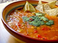 This Mexican Lentil Stew combines roasted tomatoes, vegetables, lentils, lime, and cilantro for one of the most flavorful vegan soups you've ever had.