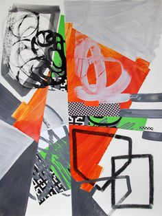 "Saatchi Online Artist: Pamela Staker; Paper, 2013, Mixed Media ""Abstract Study (road trip)"""