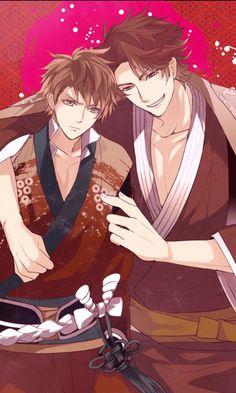 Lord Takeda Shingen and his right hand man Sanada Yukimura. Hot Anime Boy, All Anime, Anime Boys, Manga Anime, Anime Art, Sanada Yukimura, Midnight Cinderella, Dark Drawings, Shall We Date