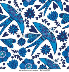 Amazing vector pattern of Portuguese swallows and flowers. - stock vector
