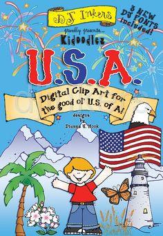 Kidoodlez USA clip art, American clip art, patriotic clip art, clip art for every state, State slogans, state clip art