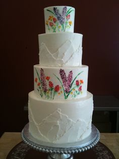 Wildflowers and mountain wedding cake. Perfect for a Destination Wedding in the mountains of Vermont, Colorado or anywhere!