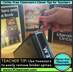I love using binders in my classroom, but hate when the spine insert rips when I am changing them. This tip will help remove them with ease. Post includes: Tips for Teachers, Money Saving Ideas for Teachers, Editable Teacher Binders, Classroom Organization and Classroom Management from The Clutter-Free Classroom