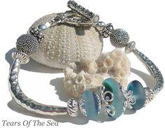Sea Glass Jewelry Beach Blue Sea Glass Bangle Bracelet