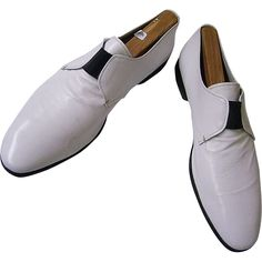 Men's 1970's Prada Shoes..White Leather Slip-Ons..Size 10 / 10 1/2..Excellent Condition from Lisa's Vintage Treasures at RubyLane.com