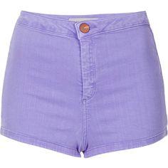 TOPSHOP MOTO Lavender Denim Hotpants (200 BRL) ❤ liked on Polyvore featuring shorts, bottoms, short, topshop, flur pink, pink short shorts, high waisted shorts, pink denim shorts, high waisted hot pants and high-waisted shorts