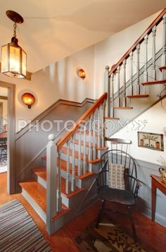 Great Royalty Free Images: The Staircase In A Colonial Style Reproduction Home