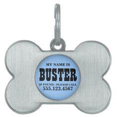 Custom Blue Dog Tag Pet ID Tags