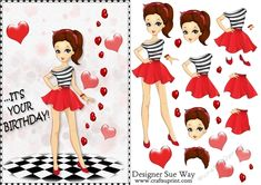 A pretty card front, or large topper with a high fashion girl in a red & black dress with a flared skirt with matching head scarf. She is surrounded by big red love hearts. Easy to cut out step by step layers complete this lovely girly card. Red Love Heart, Red Black Dress, Birthday Fashion, Heart Cards, Flared Skirt, Pretty Cards, It's Your Birthday, Decoupage, High Fashion
