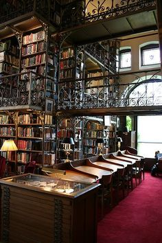 Andrew Dickson White Library, in Uris Library, Cornell University (Ithaca, New York) -- some people go to the beach, others to remote, fearsome places, and some head to the biggest cities they can get to.  Me, a library I haven't seen before, especially one that is (or just looks) vintage makes my heart race like nothing else.  Yup, I know I'm odd, and I like it that way!  :)