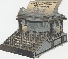 victorian trading cards - old typewriter