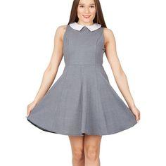 Grey chevron peter pan collar dress