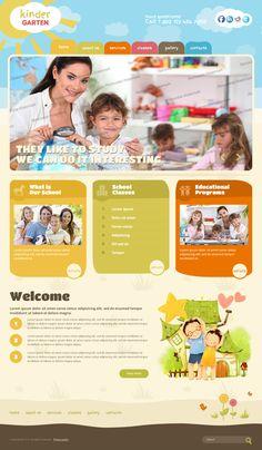 Sunny Kindergarten Twitter Bootstrap HTML Template by Dynamic Template Web Design Tools, Web Design Services, Design Web, Graphic Design, Web Design School, Layout Online, Pag Web, School Advertising, Kindergarten Design