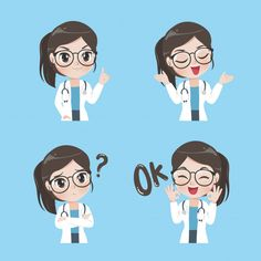 Lady doctor variety gestures and actions vector image on VectorStock Medical Quotes, Medical Art, Doctor Shows, Medical Wallpaper, Nurse Art, Cute Cartoon Characters, Dog Vector, Anime Art Girl, Cute Stickers