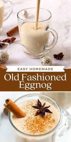 Christmas Dishes, Christmas Drinks, Christmas Desserts, Christmas Crafts, Homemade Alcohol, Homemade Eggnog, Easy Eggnog Recipe, Smoothies, Alcohol Drink Recipes