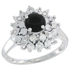 Sterling Silver Natural Black Onyx Ring Oval 6x4, Diamond Accent, size 5.5 >>> Be sure to check out this awesome product.