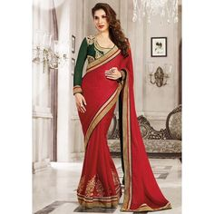 Trendy Georgette Embroidered Work Festive Wear & Party Wear Saree at just Rs.1099/- on www.vendorvilla.com. Cash on Delivery, Easy Returns, Lowest Price.