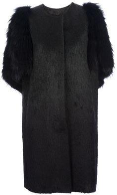 FENDI Black Fur Panelled Coat - Lyst