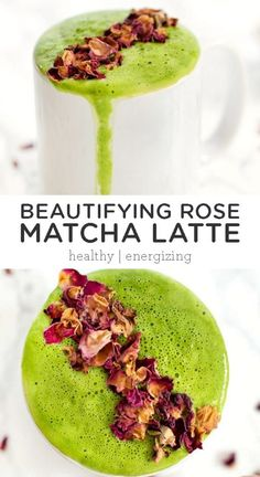 How to make a Rose Matcha Latte recipe that is full of healthy beauty foods. It's not only a natural hot energy drink, but it's also amazing for your skin, hair and nails! Made with coconut butter. Vegan and gluten free. Real Food Recipes, Vegan Recipes, Juice Recipes, Drink Recipes, Free Recipes, Matcha Latte Recipe, Natural Energy Drinks, Gentle Detox, Superfood Powder