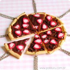 colar pizza de chocolate com morango - 1 pedaço