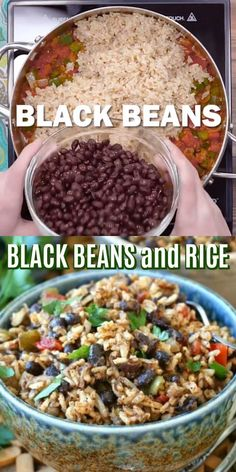 Cajun Black Beans and Rice This Black Beans and Rice recipe is an updated version of the red beans and rice classic. Made with a variety of spices popular in Cajun communities for an easy and spicy side dish. Veggie Recipes, Lunch Recipes, Mexican Food Recipes, Vegetarian Recipes, Cooking Recipes, Easy Healthy Dinners, Vegan Dinners, Healthy Breakfast Recipes, Healthy Recipes