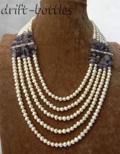5strands 19'' 6mm White Round Freshwater Pearl Amethyst Necklace | eBay