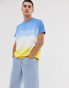 Browse online for the newest ASOS DESIGN oversized t-shirt with roll sleeve in bright dip dye wash styles. Shop easier with ASOS' multiple payments and return options (Ts&Cs apply). Polo Shirt Outfits, Tie Dye Outfits, Dye Shirt, T Shirt Vest, Batik Mode, Diy Camisa, Online Shop Kleidung, Asos Mode, Tie Dye Fashion