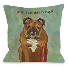 This Is My Happy Face Throw Pillow