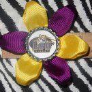 Sporty Bottlecap Flower NCAA LSU Tigers Logo Hair Bow ~ Free Shipping