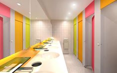 Colorful toilet partitions