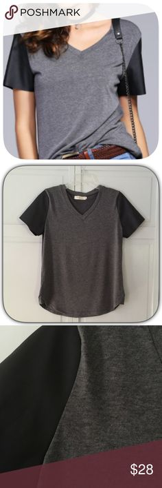 HP NWT Cute Black & Grey Faux Leather T-Shirt HP 9/23/16! Casual Cool Party! This is such a cute tee! The sleeves have a raw edge cut! I have this and I absolutely love it! Also it is super comfy and soft! Chosen by @bella_boutique please check out her amazing closet!  Boutique Tops Tees - Short Sleeve