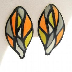 Vintage Earrings Retro Mod Enamel Geometrics Clip On Orange, Black, Lime, Grey 60s by GalleriaLindaLoft, $18.00 USD