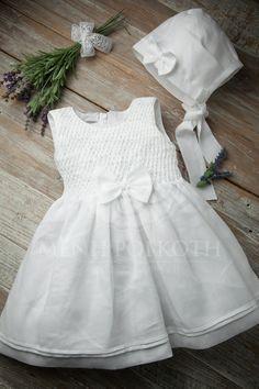 Βαπτιστικό ρούχο για κορίτσι λινό με σφιγγοφωλιά