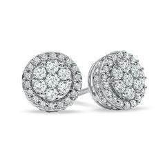 1/2 CT. T.W. Diamond Cluster Stud Earrings in 10K White Gold