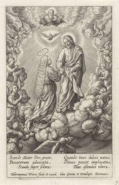 Hieronymus Wierix   Hemelvaart van Maria, Hieronymus Wierix, 1563 - before 1619   Maria wordt op de maansikkel meegevoerd naar de hemel. Christus pakt haar hand vast. Boven hem de Heilige Geest als duif en God de Vader. Ze zijn omringd door engelen op de wolken. In de marge een zesregelig onderschrift, in twee kolommen, in het Latijn.