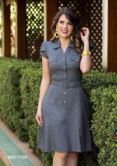 2c02a8a601 3 Modelos de vestidos para ir à igreja. Vestido De Camisa