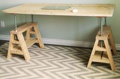 Ana White | Modern Indsutrial Adjustable Sawhorse Desk to Coffee Table - DIY Projects