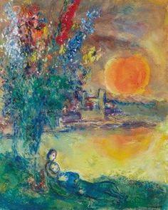Marc Chagall - Lune rousse au Cap d'Antibes, 1969. Pinterest