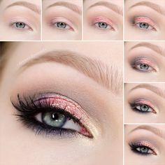 Make up. - Rose Gold Glitter / step by step