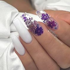 Chic Natural Gel Nails Design Ideas For Coffin Nails - white Gel coffin nails long, natural gel nails design, gel nai Purple Acrylic Nails, Summer Acrylic Nails, Best Acrylic Nails, Purple Nails, Summer Nails, White Nails, Acrylic Nail Designs For Summer, Purple Nail Designs, Blue Nail