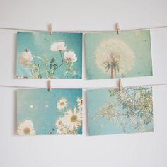 Blumen-Postkarten im Set, Gartenmotiv, Blumenmotiv auf Karte / flower postcard in a set, botanic motifs, dandelion made by CassiaBeck via DaWanda.com