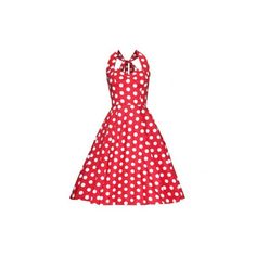 Hell Bunny Mariam dress, red (45.765 CLP) ❤ liked on Polyvore featuring dresses, halter dress, vintage red dress, vintage dresses, trapeze dresses and polka dot dress