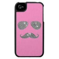 FOR YOU KK~Funny Diamond Mustache With Glasses Iphone 4 Case from Zazzle.com