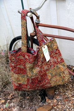 Fall Upcycled Reversible Bag, Large Cotton Tote, Eco Friendly 24.00