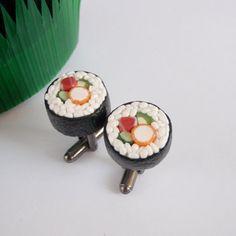 I Love Sushi Manschettenknopfe - Tuna Maki Manschettenknöpfe - Miniatur Food Art Schmuck - Schickie Mickie Original 100% Handmade