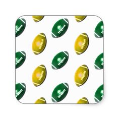 Green and Gold Football Pattern Sticker