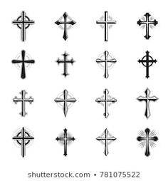 Crosses of Christianity Religion emblems set. Heraldic Coat of Arms decorative logos isolated vector illustrations collection. Cross Tattoo For Men, Cross Tattoo Designs, Heart Tattoo Designs, Cross Tattoos, Tatoos, Airplane Icon, Jewelry Design Drawing, Wood Burning Patterns, Vector Icons