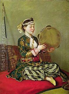 Etienne Liotard:Turkish Woman with a Tambourine